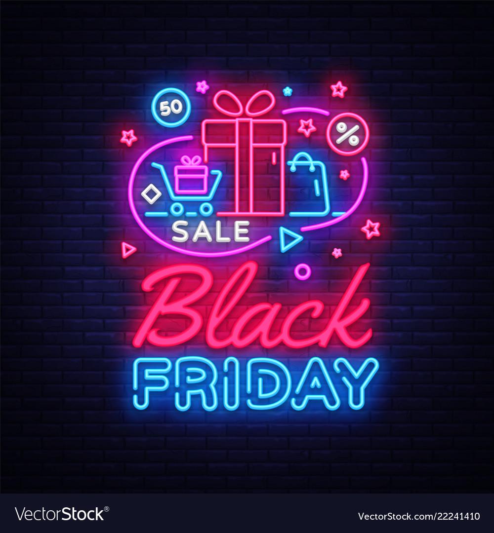 Black friday sale neon banner black friday