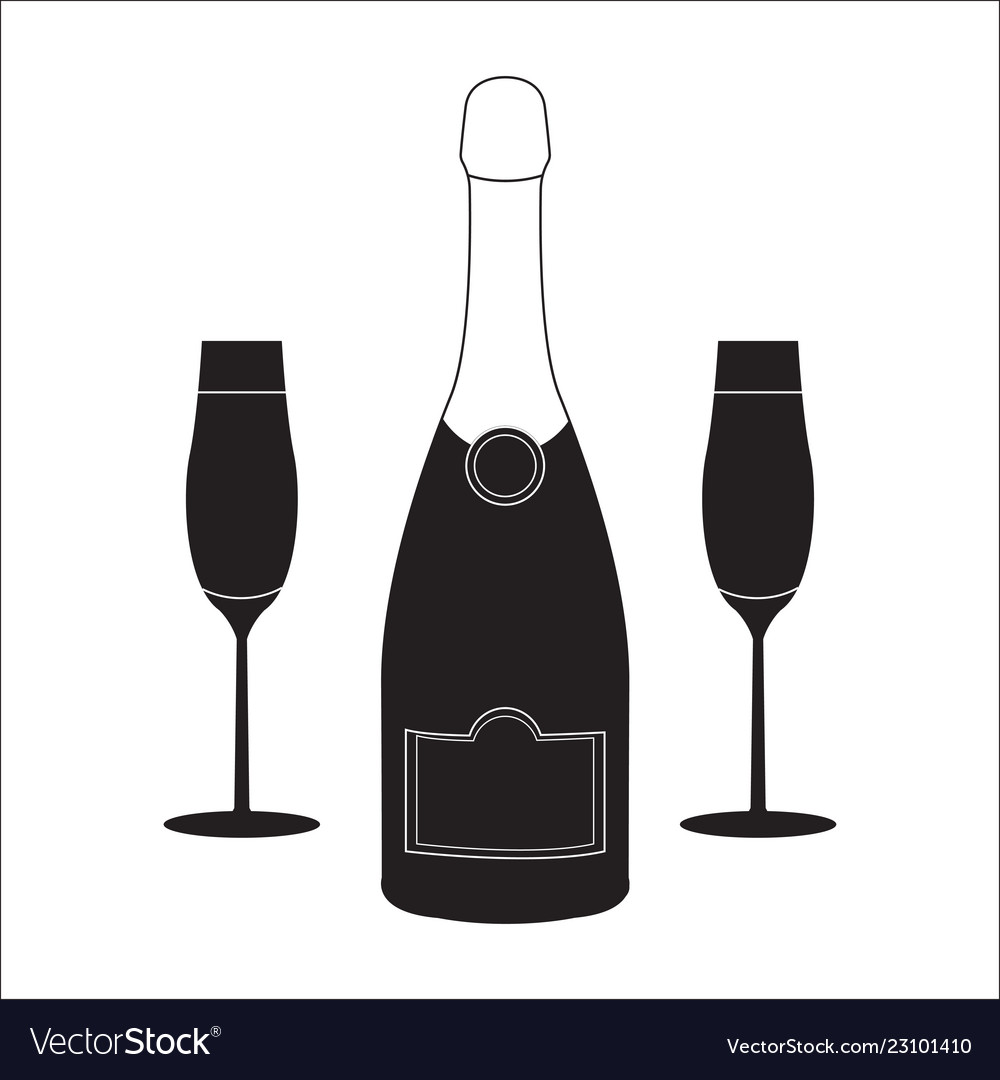 Bottle of champagne wine with two glasses linear