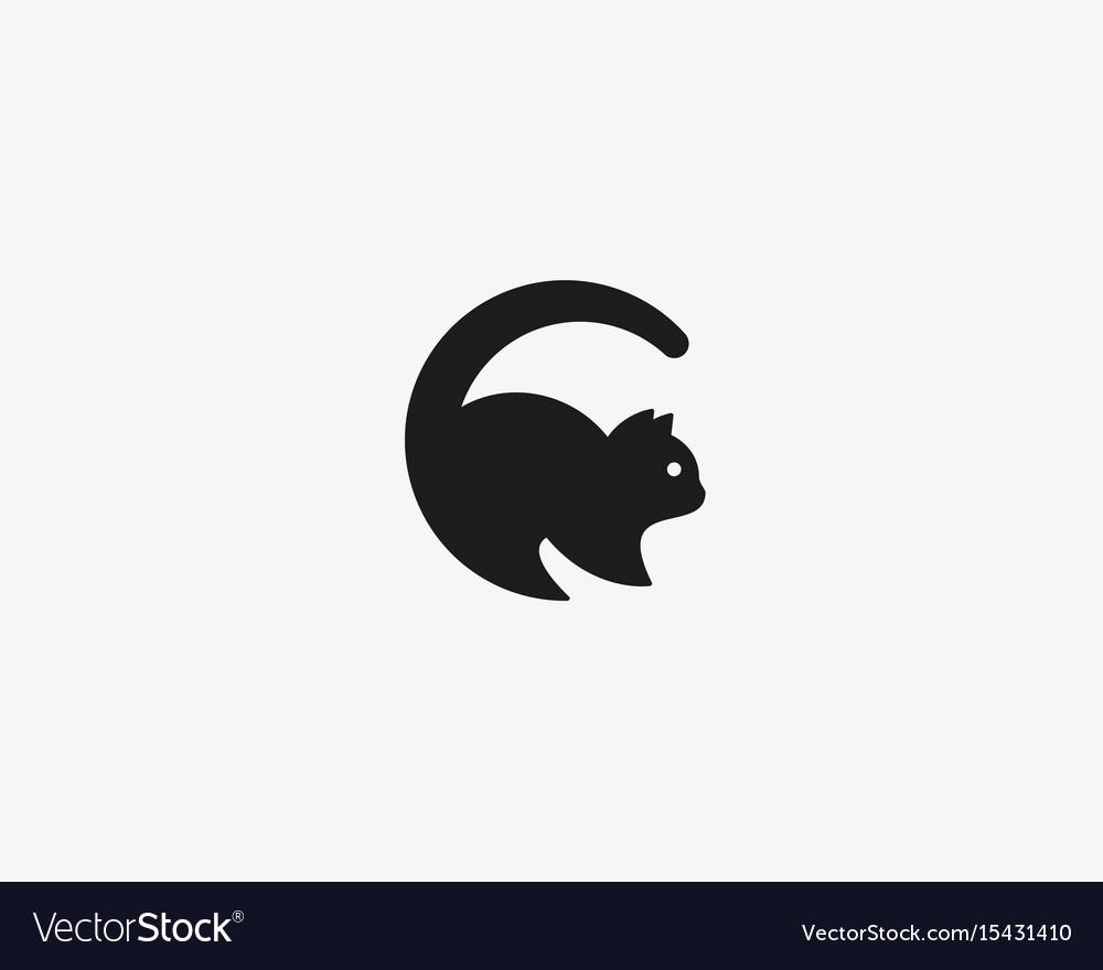 Cat Logo Pet Letter C Logotype Royalty Free Vector Image