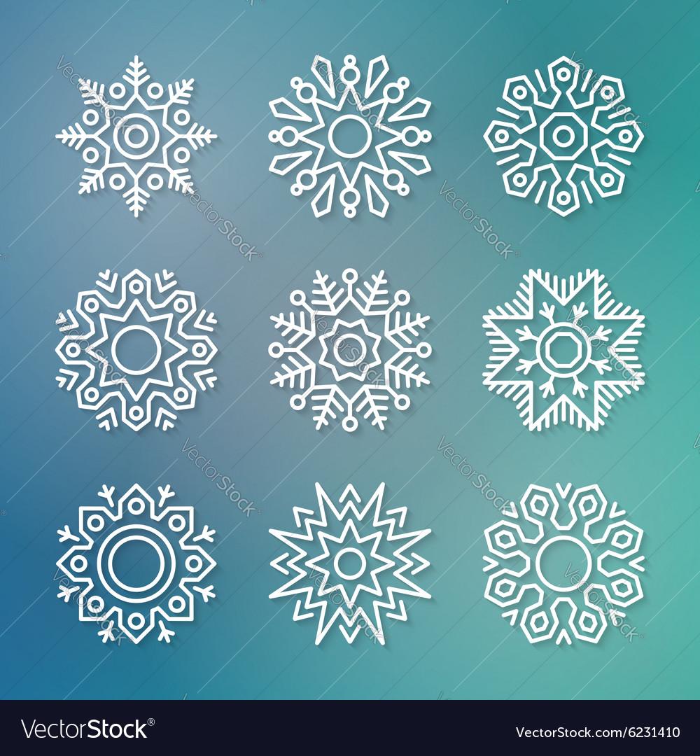 Christmas flat line snowflakes