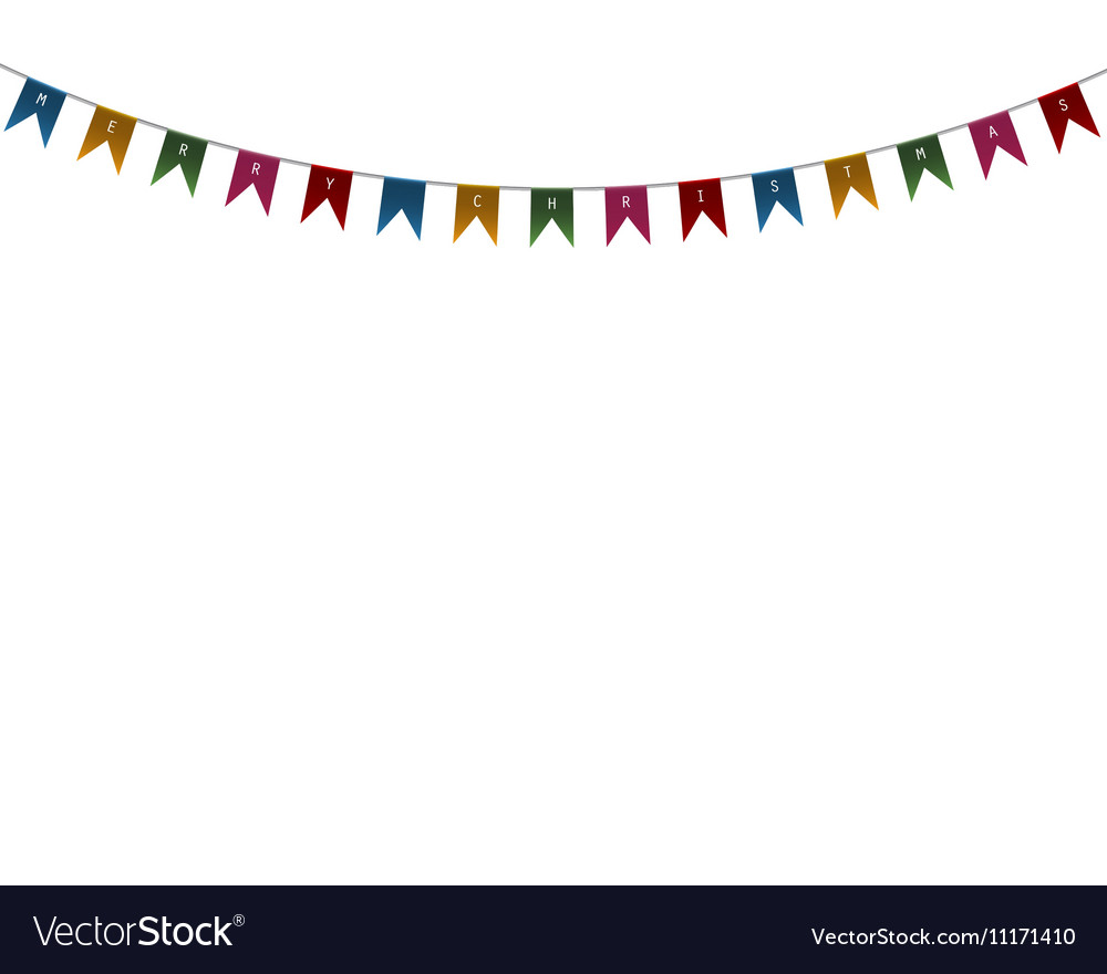 Decorative flags on greeting card template vector image