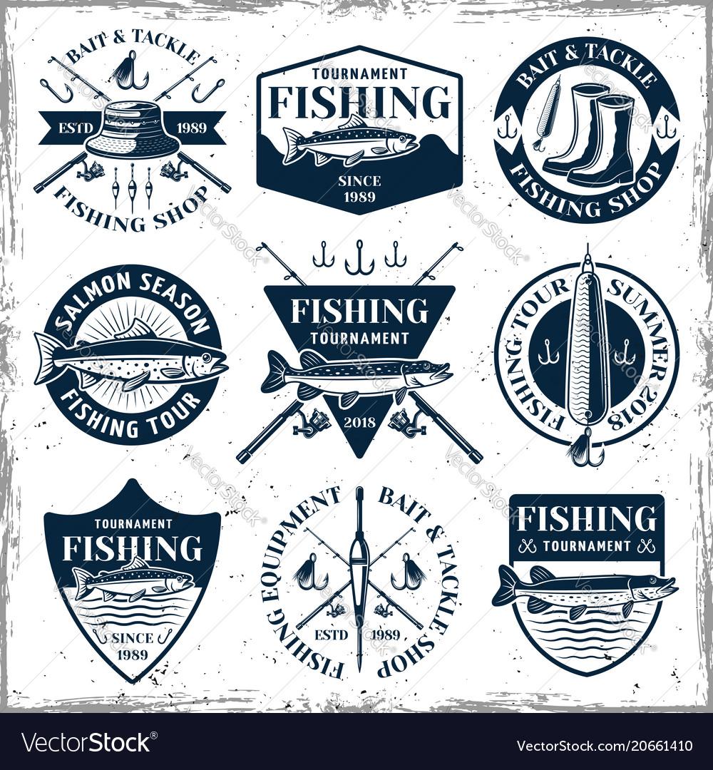 Fishing set of nine vintage emblems vector image