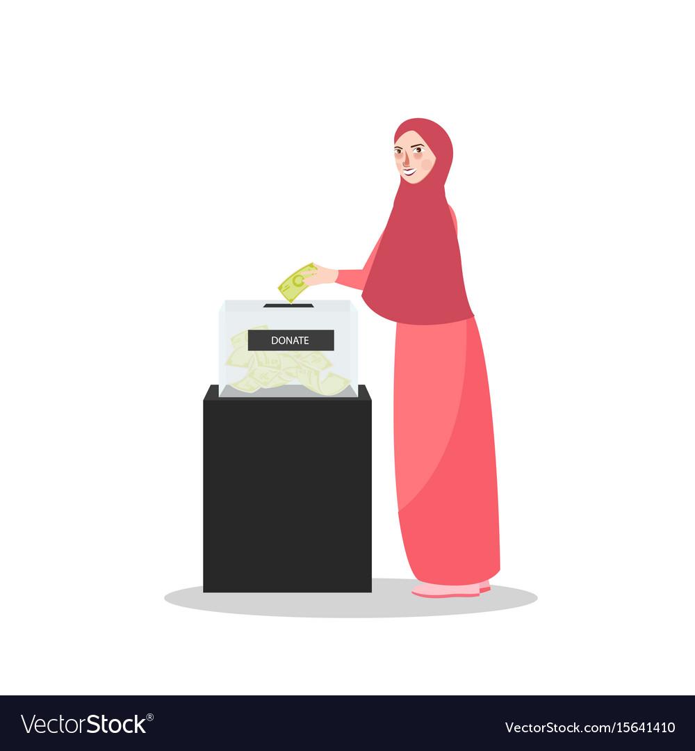 Girl put money into donation box islam muslim