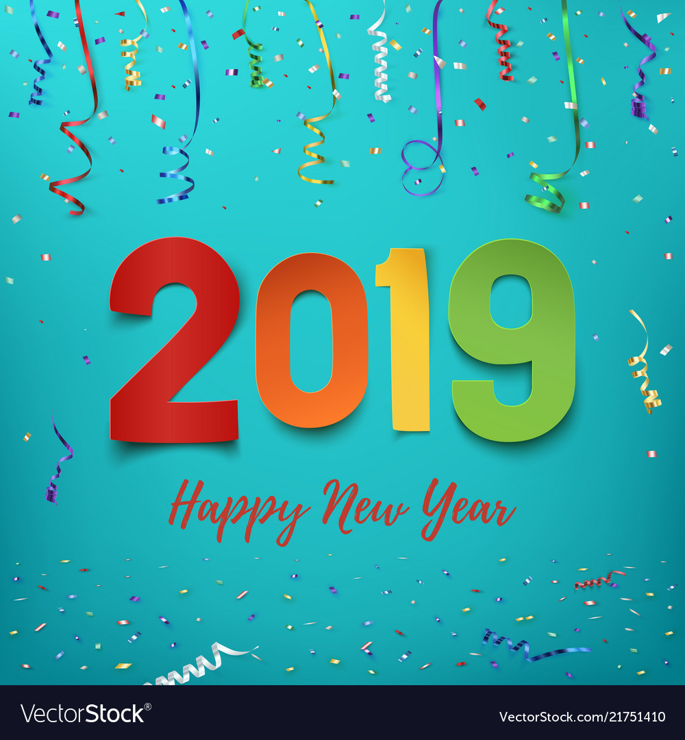Happy new year 2019 colorful paper abstract