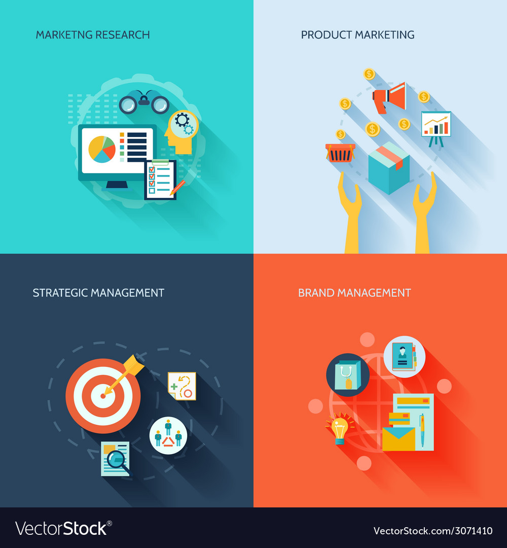 Marketers flat icons set vector image