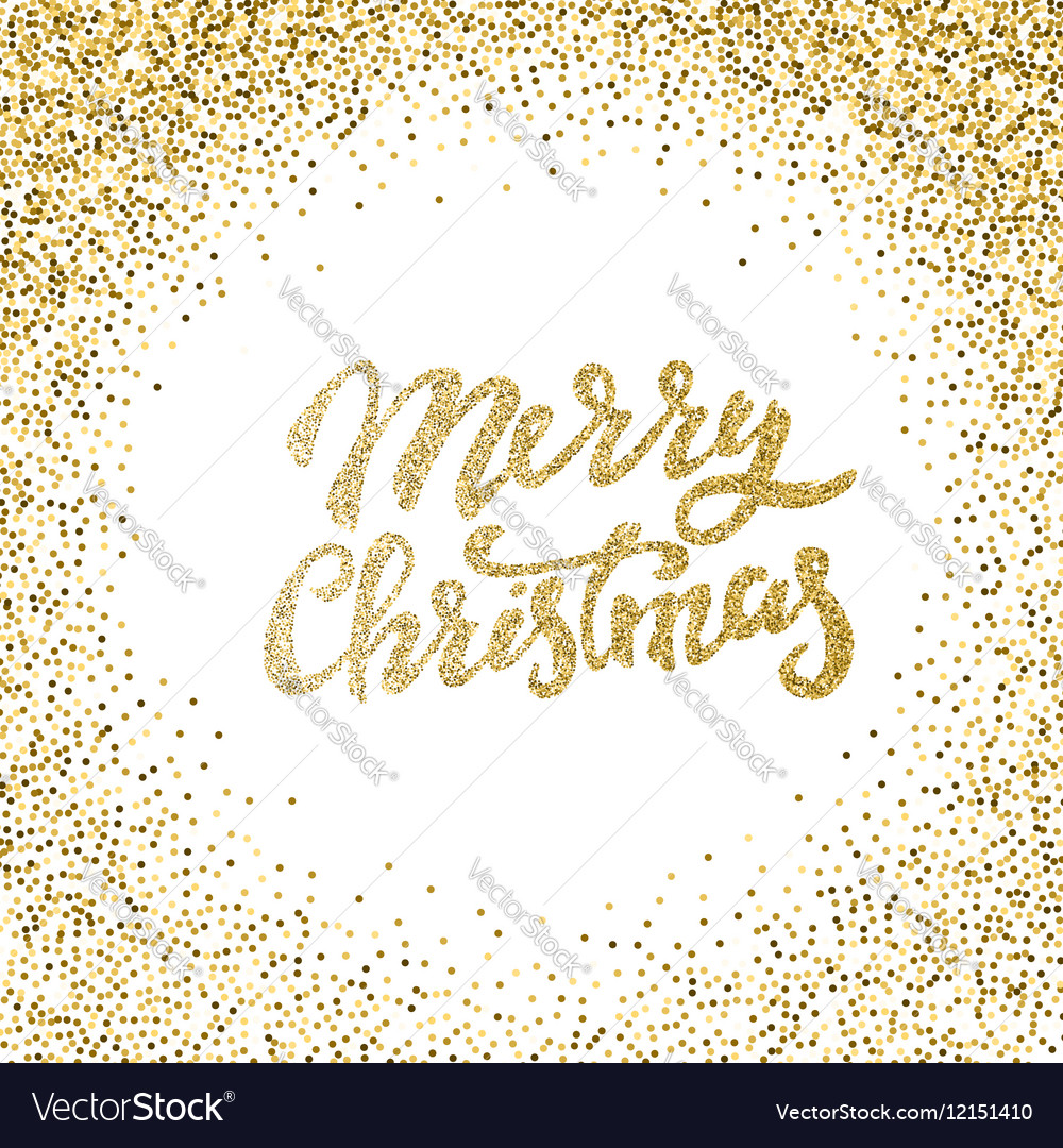 Merry Christmas gold glitter lettering with frame