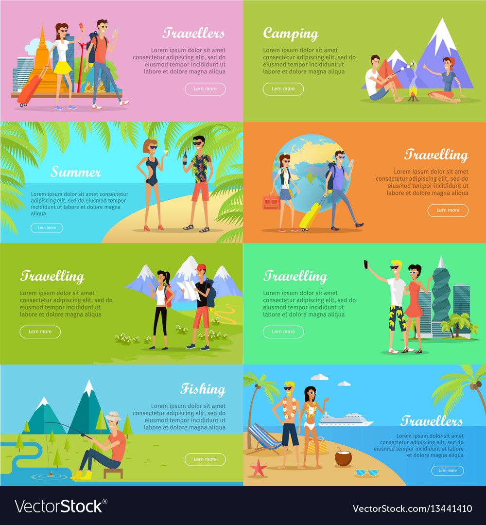 Set of people on vacation flat web banners