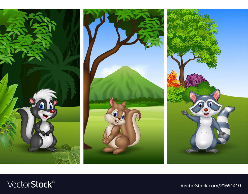 Set of three funny animals with nature background