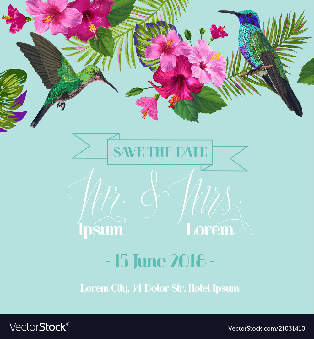 Wedding invitation with blooming tropical flowers