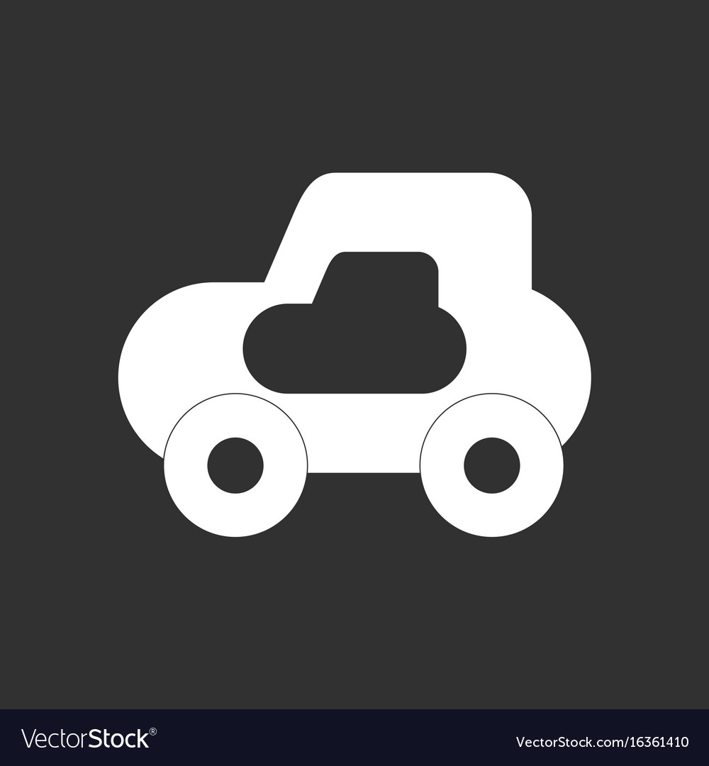 White Icon On Black Background Toy Car Royalty Free Vector