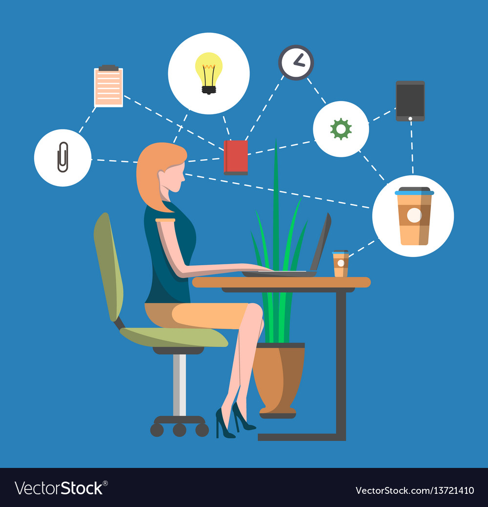 Young woman in office workplace infographics