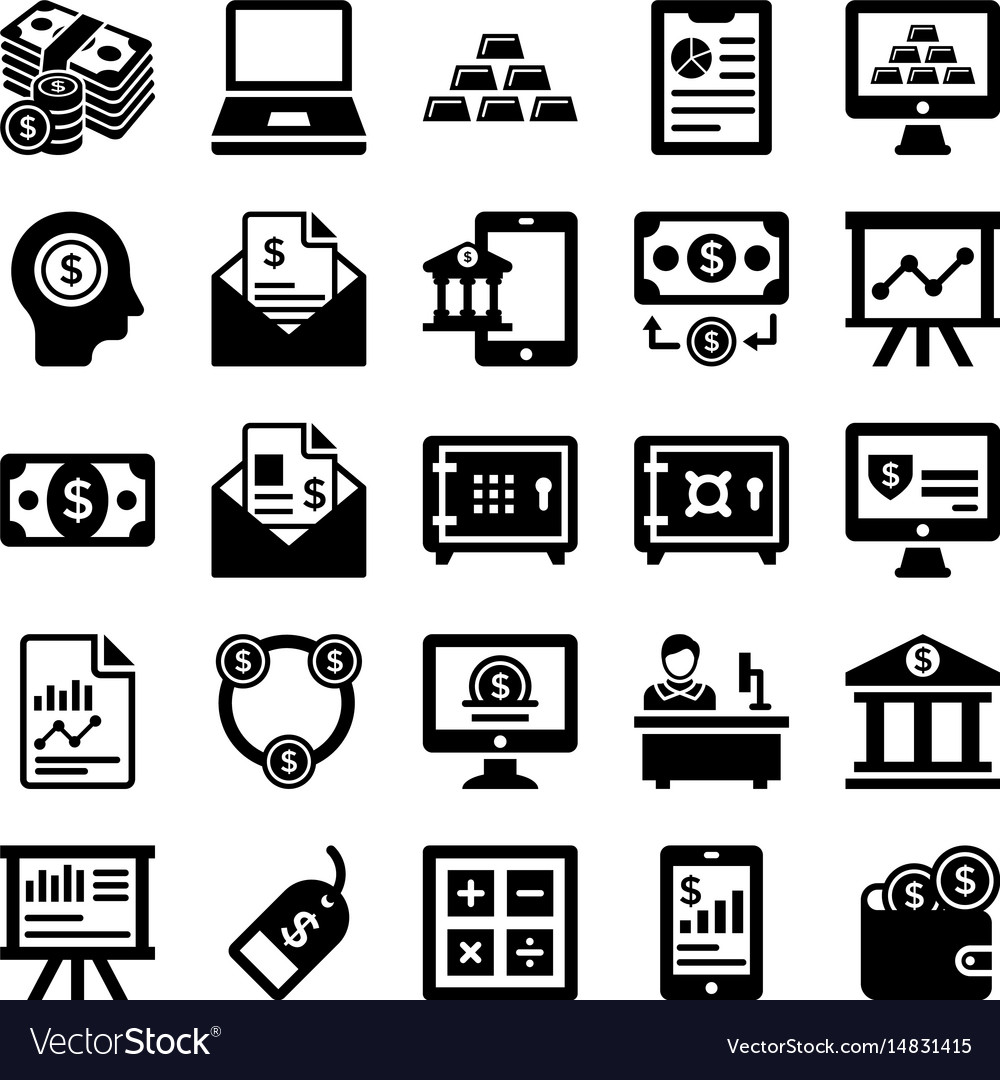 Banking and finance line icons 5 vector image