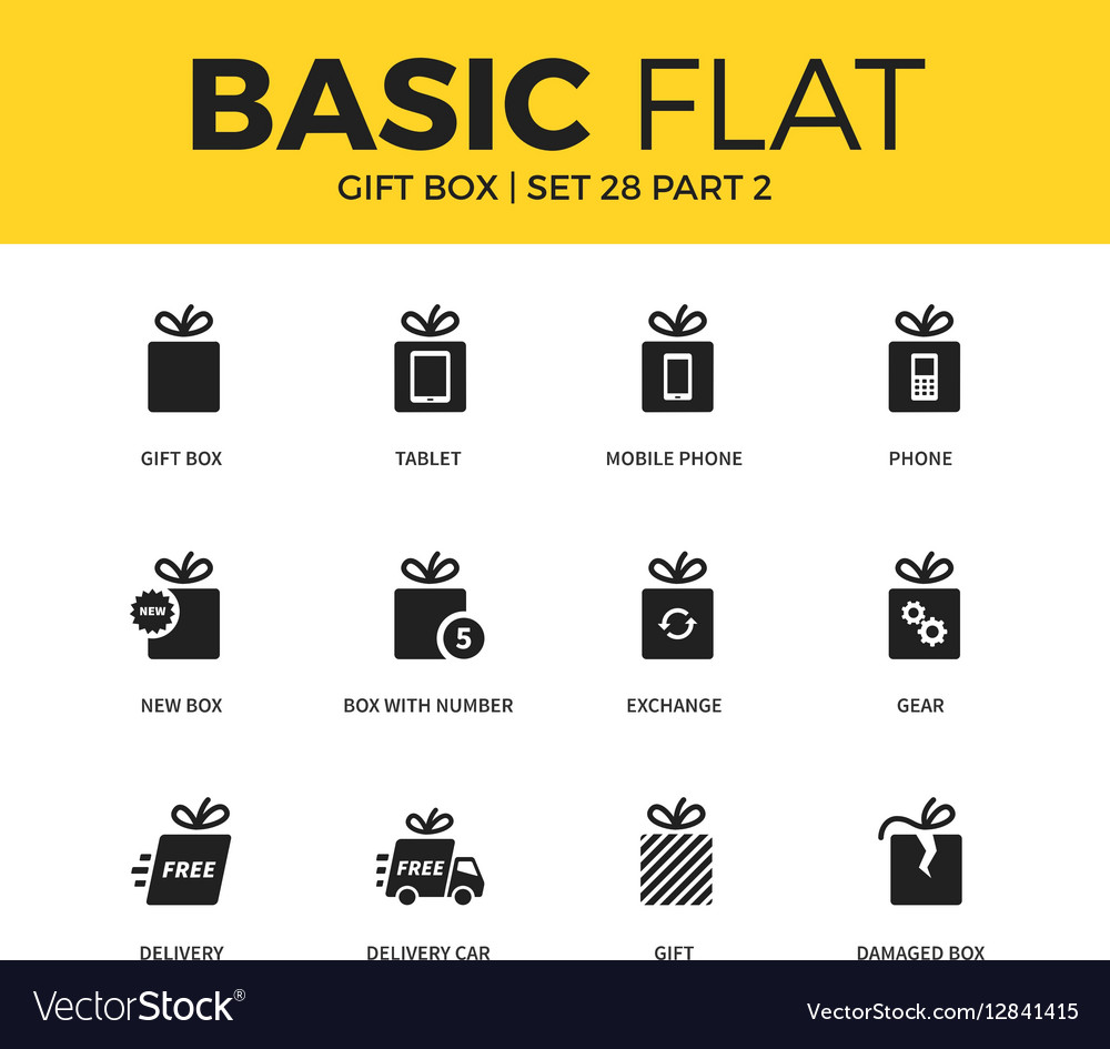 Basic set of Gift box icons