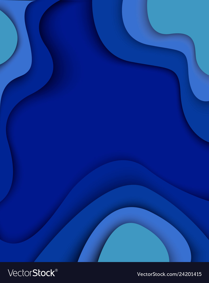 Blue waves paper cut modern abstract background