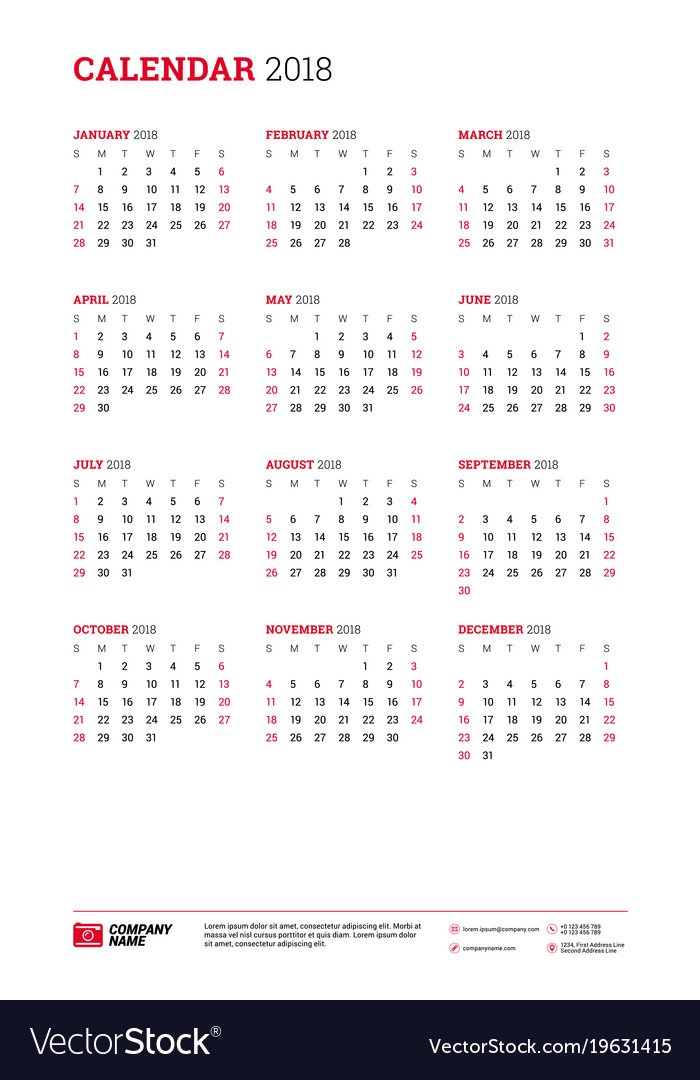 Calendar Poster Tabloid Size For 2018 Year Week Vector Image