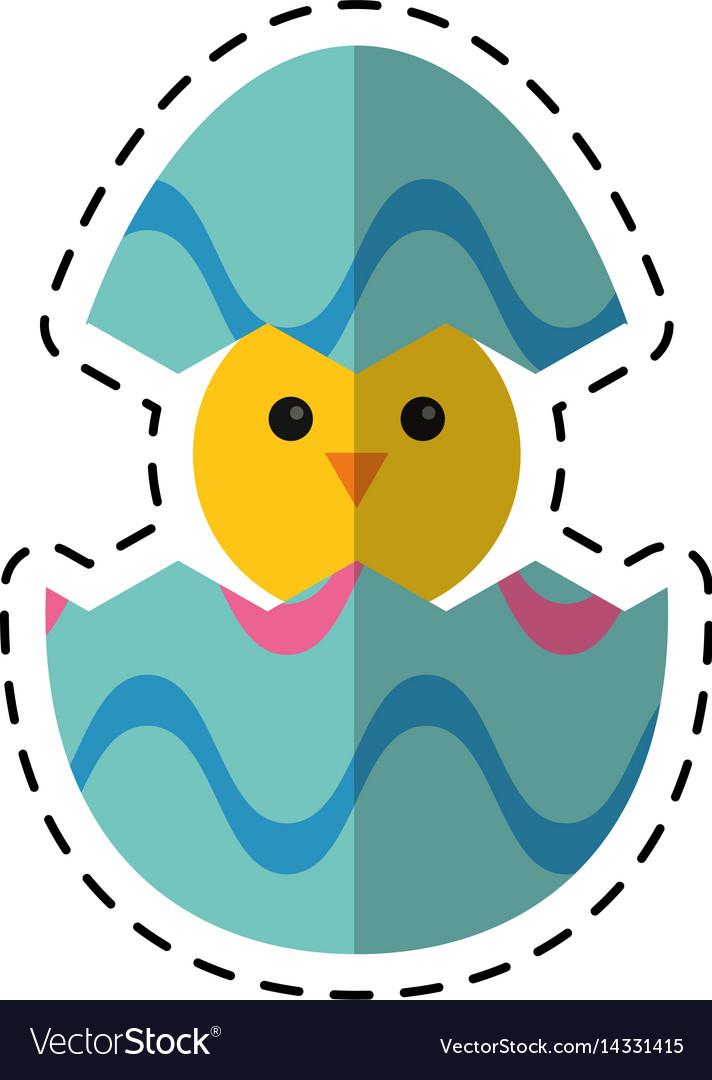 Cartoon cute easter egg chicken vector image