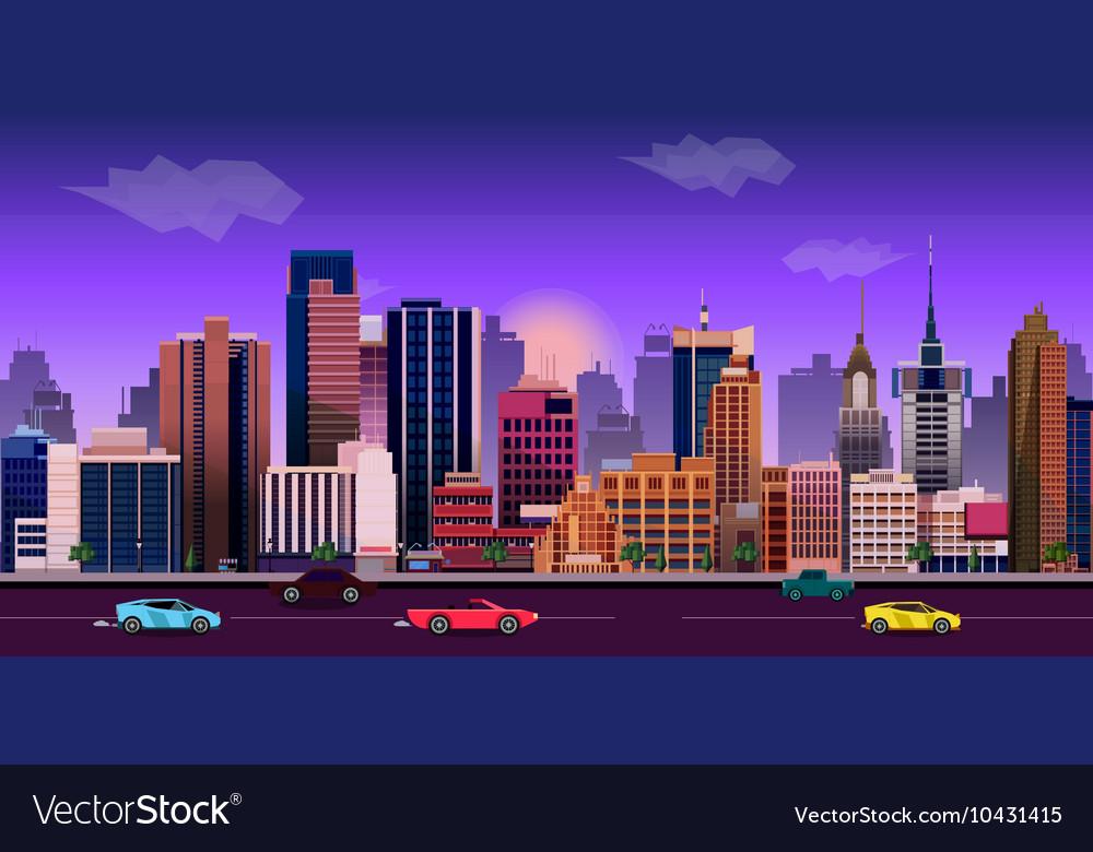 City game background 2d application design vector image