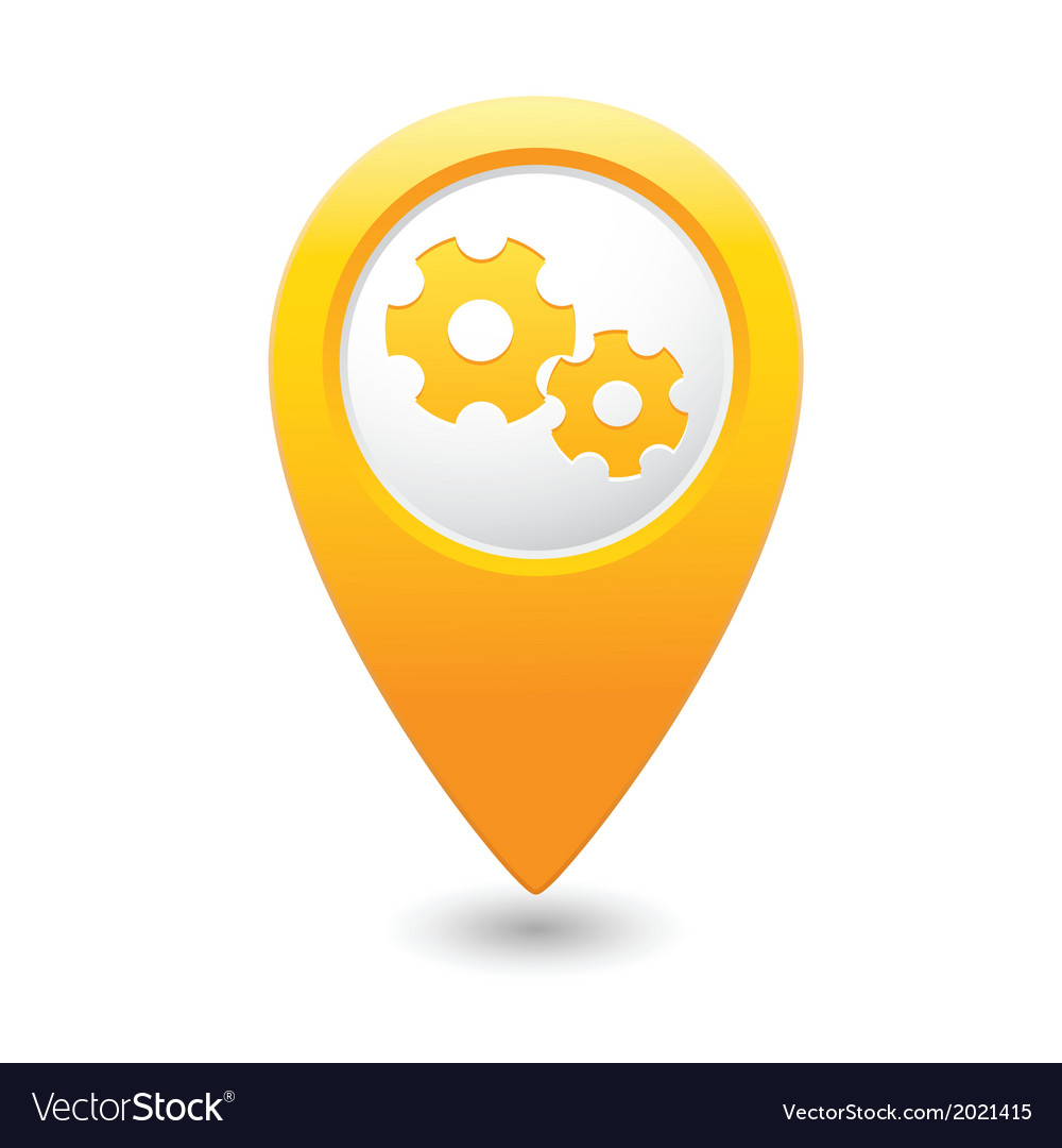 Gear icon yellow map pointer vector image