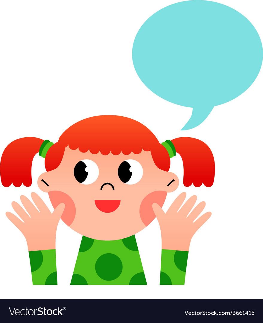 Happy cartoon girl with speach bubble vector image