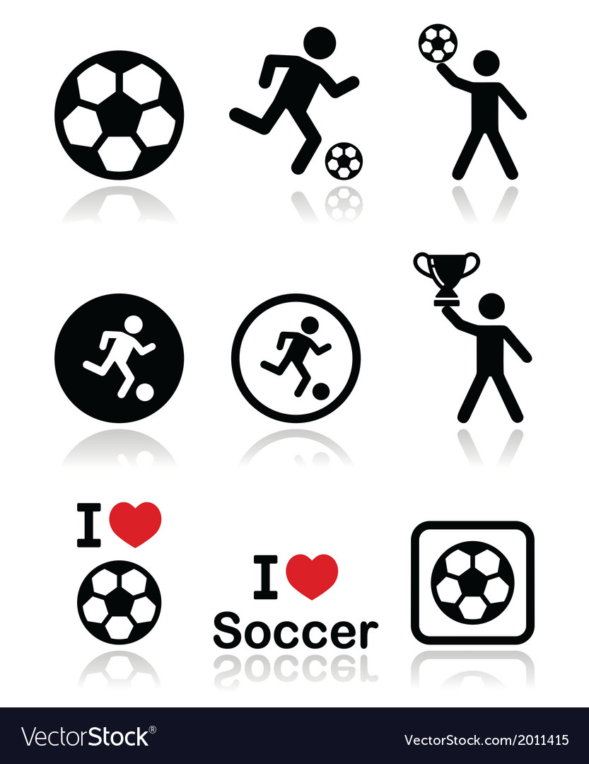 I love football or soccer man kicking ball vector image