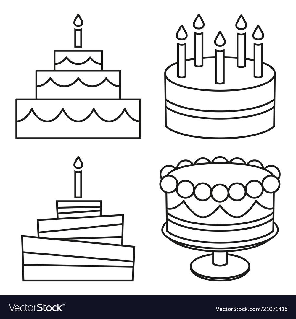 Sensational Line Art Black And White Birthday Cake Set Vector Image Funny Birthday Cards Online Alyptdamsfinfo