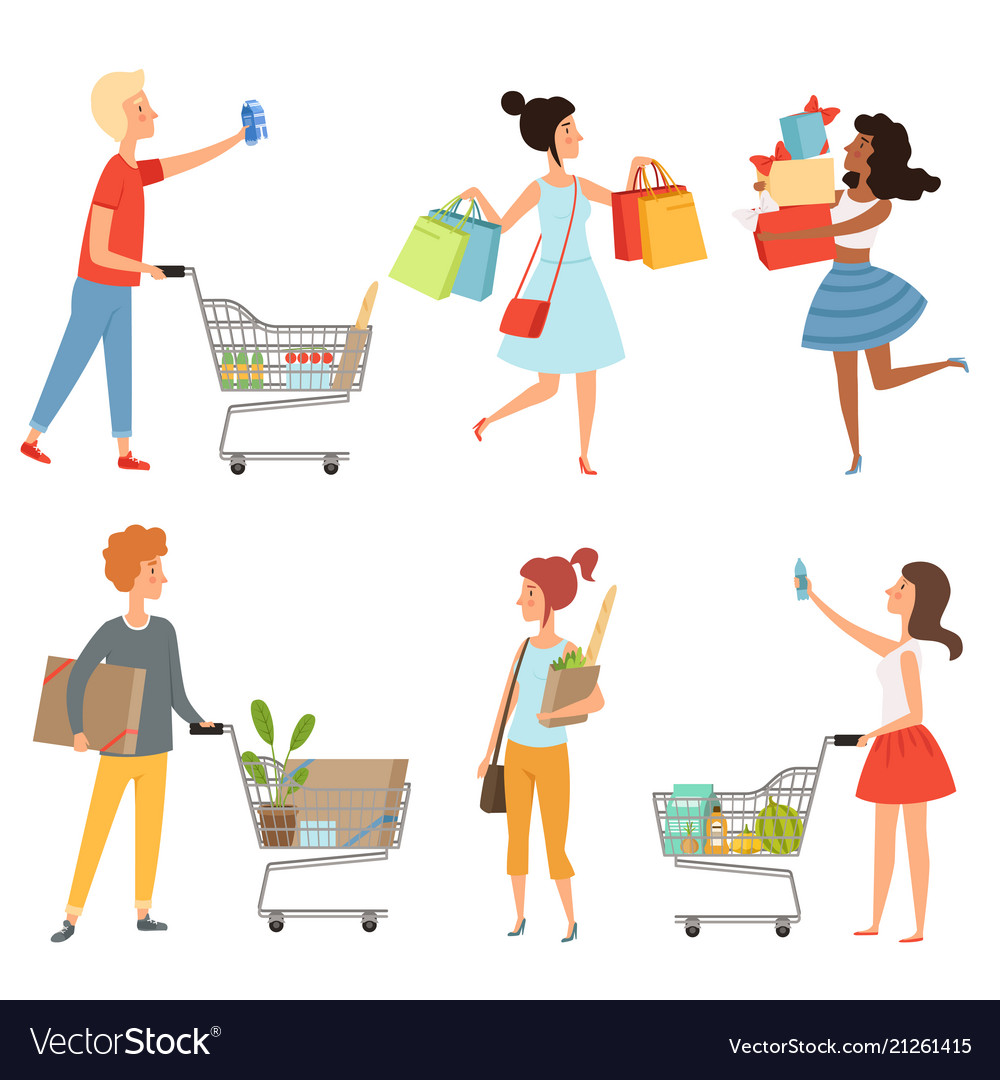Male and female shopping pictures of