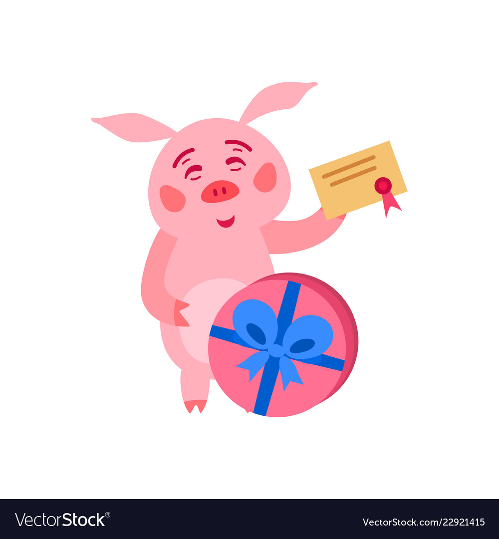 Merry christmas pig with gift boxes