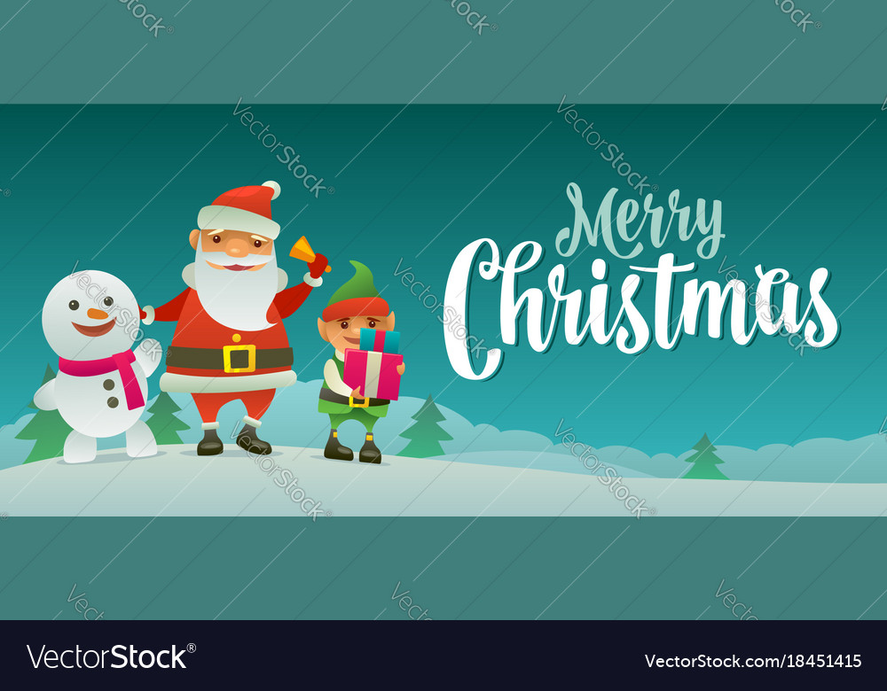 Santa claus snowman and elf with gift flat