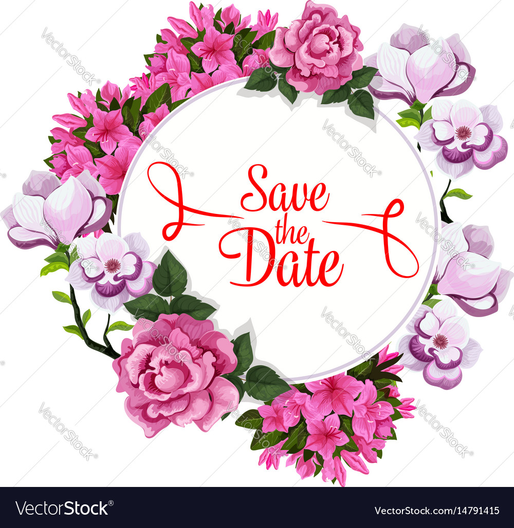 save date wedding greeting floral template vector image