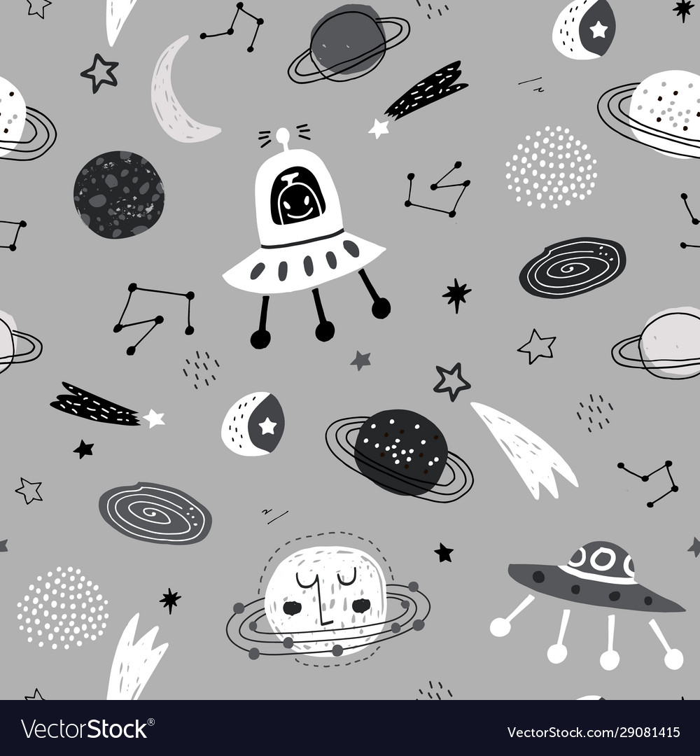 Seamless monochrome pattern with space elements