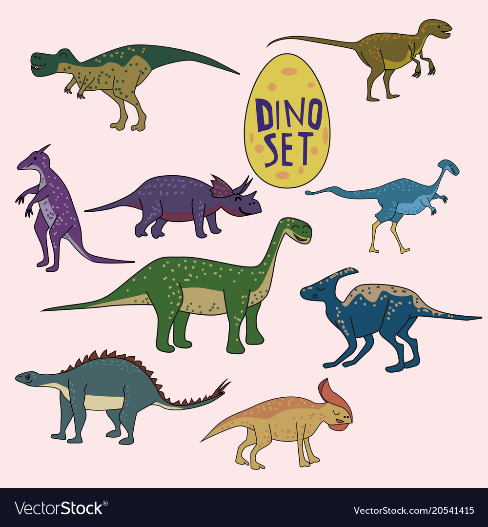Set of dinosaurs funny cute animals isolated