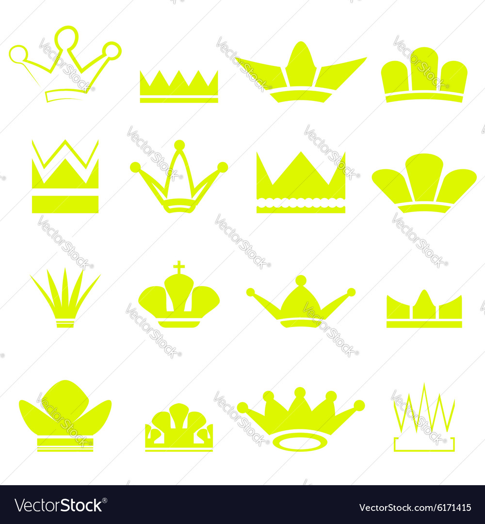 Set of Gold Crowns Silhouettes