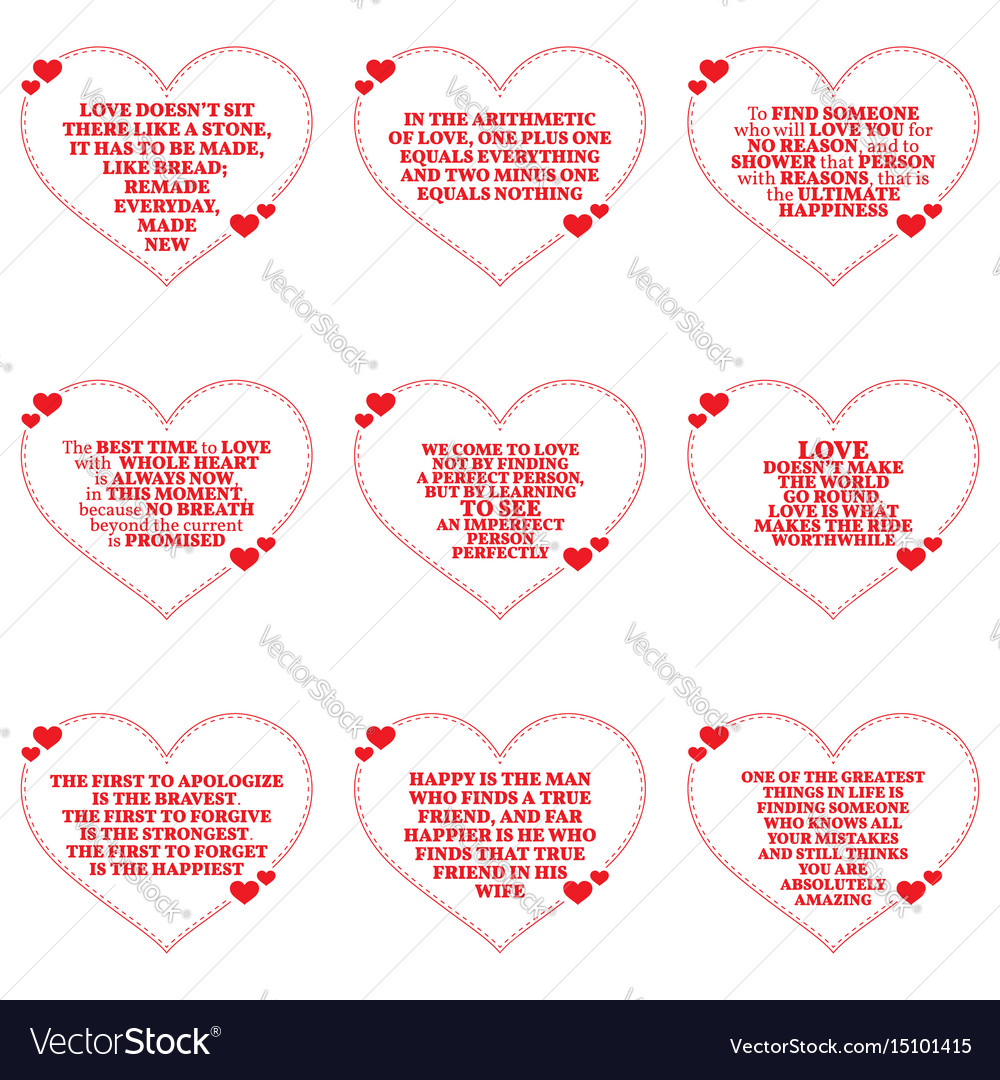 Set of quotes about love over white background