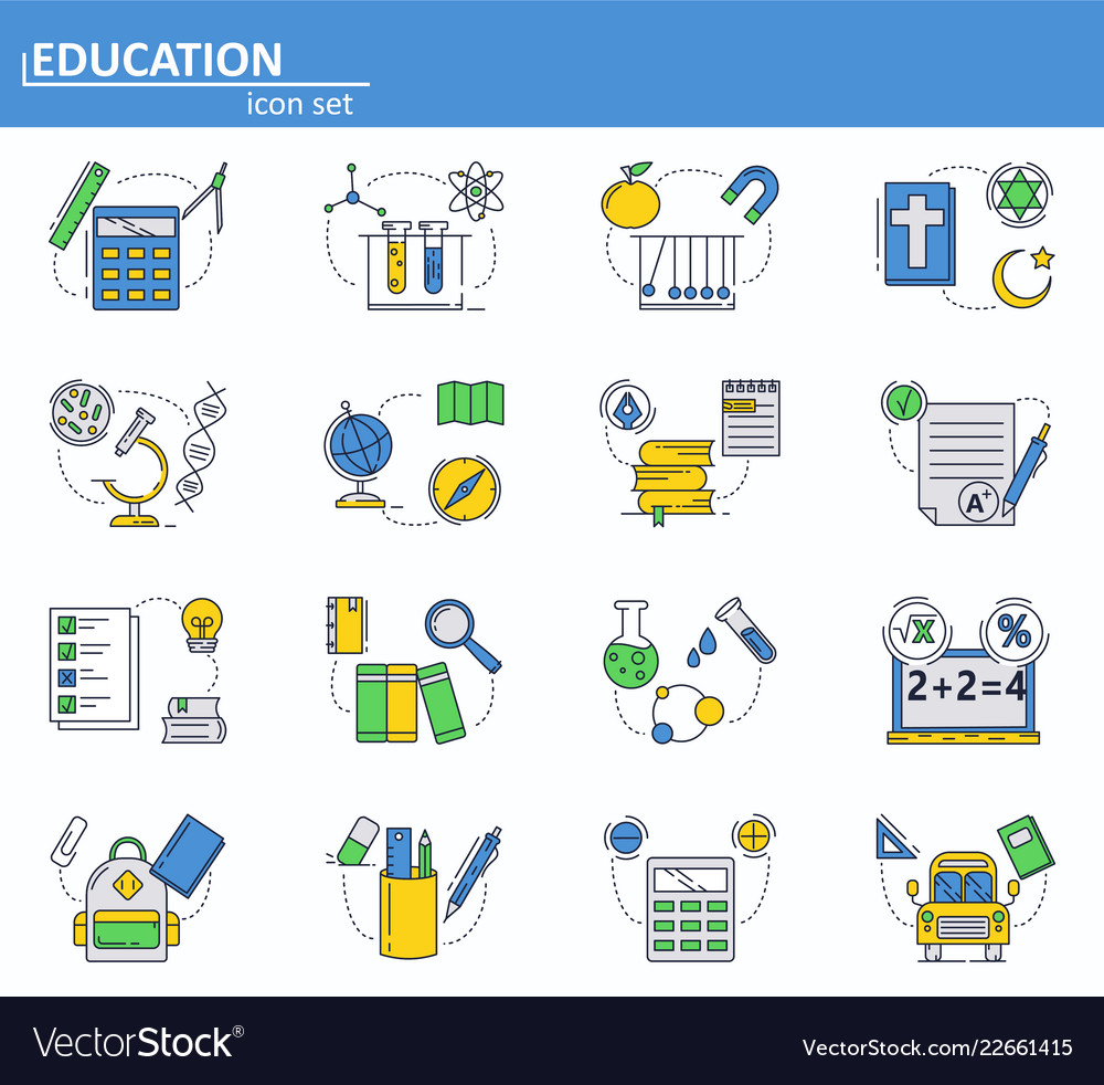 Set of school education icons in thin line