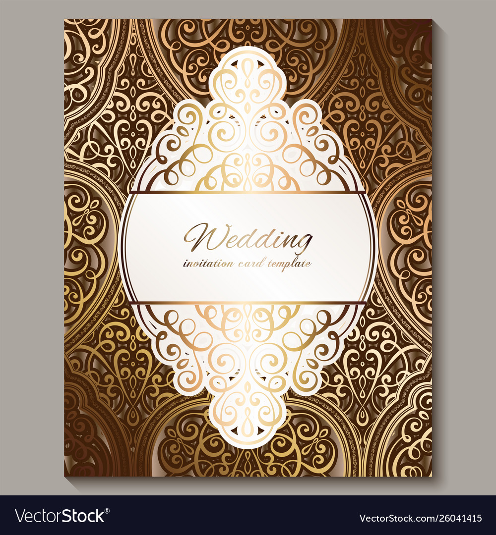 Wedding Invitation Card With Bronze And Gold