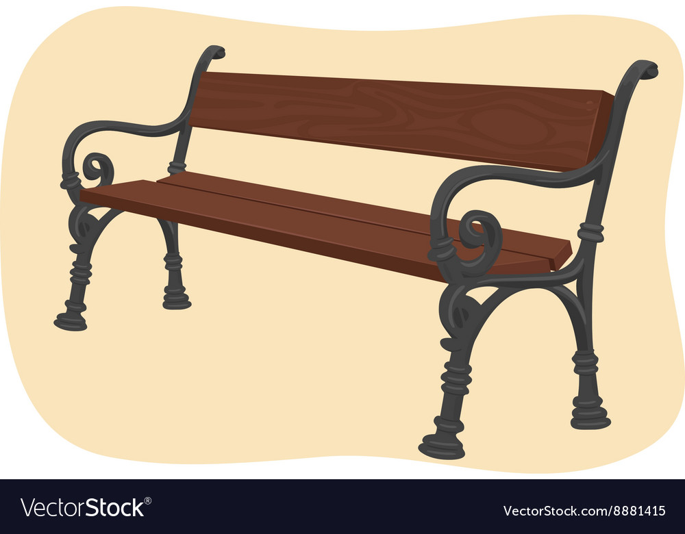Wooden park bench on brown background
