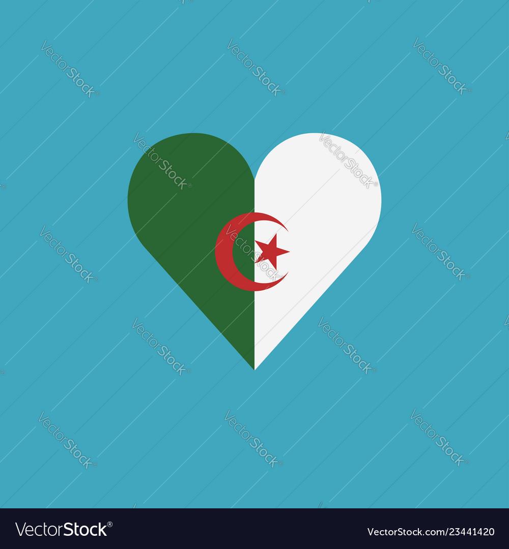 Algeria flag icon in a heart shape in flat design