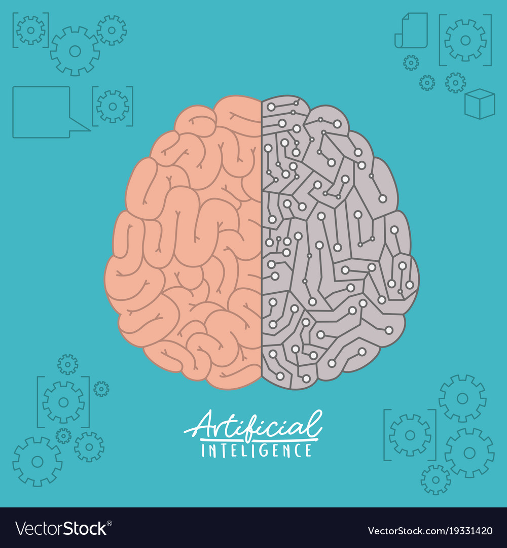 Artificial intelligence poster with brain top view artificial intelligence poster with brain top view vector image ccuart Choice Image