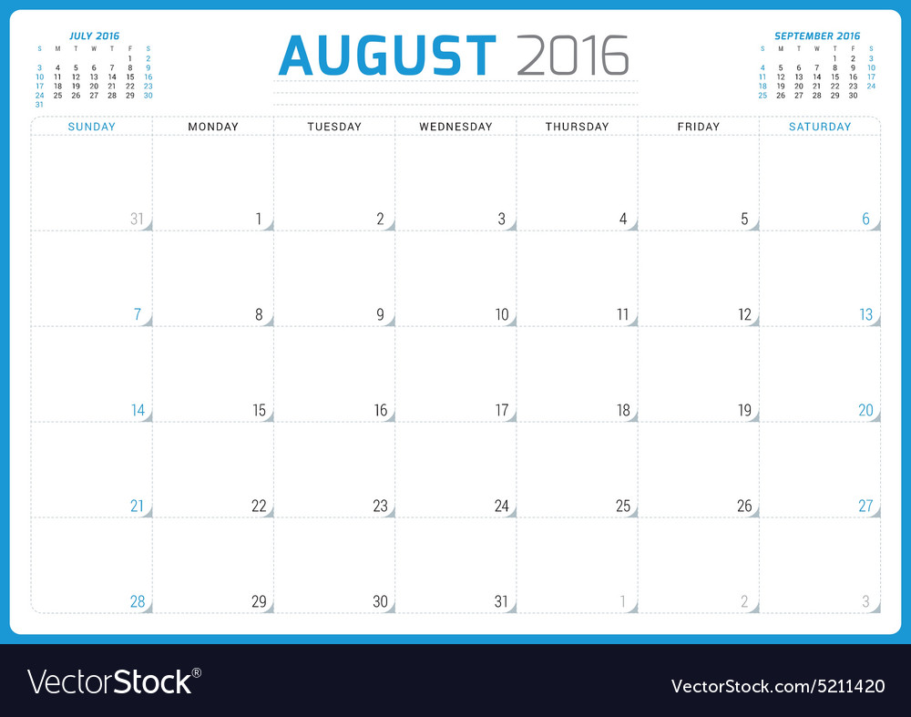 Calendar Planner 2016 Design Template August Week