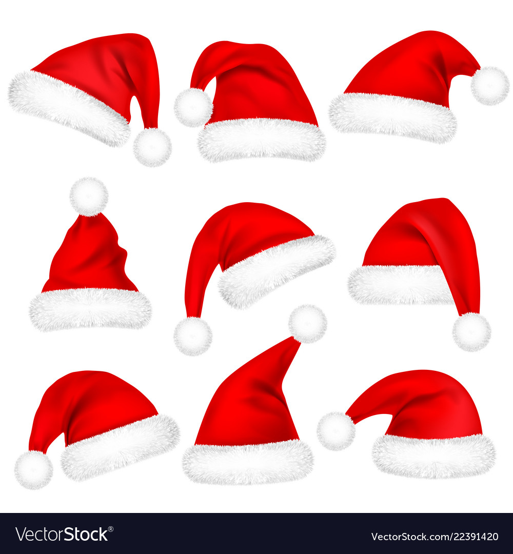 Christmas santa claus hats with fur set new year