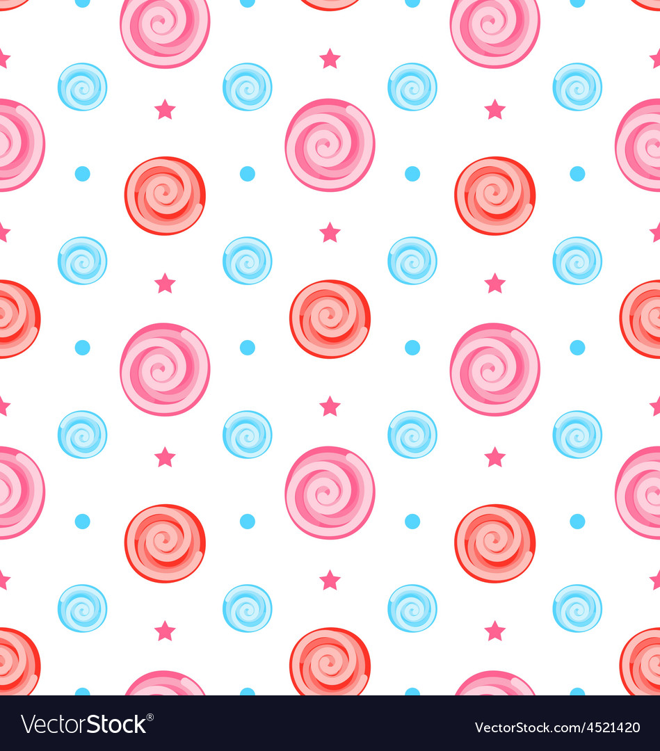 Colorful Seamless Pattern with Lollipops Swirl