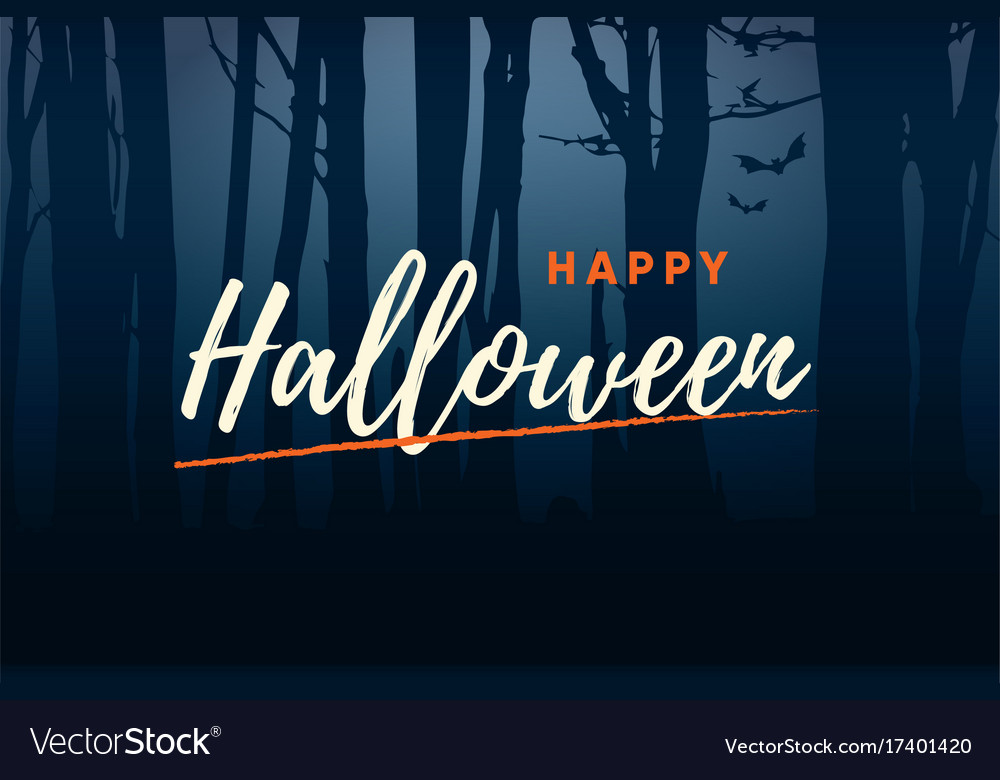 Happy-halloween-title-logo-with-forest-background