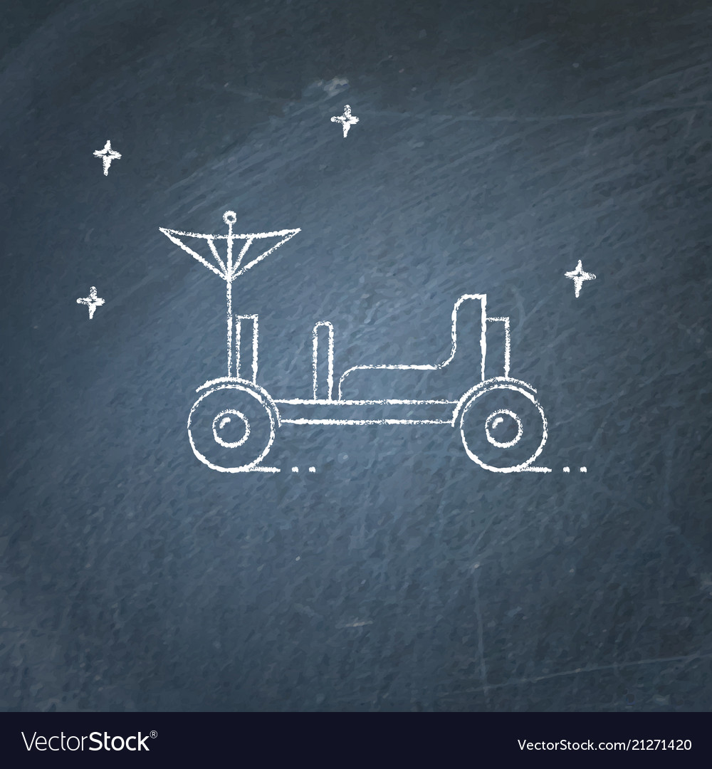 Lunar rover icon on chalkboard
