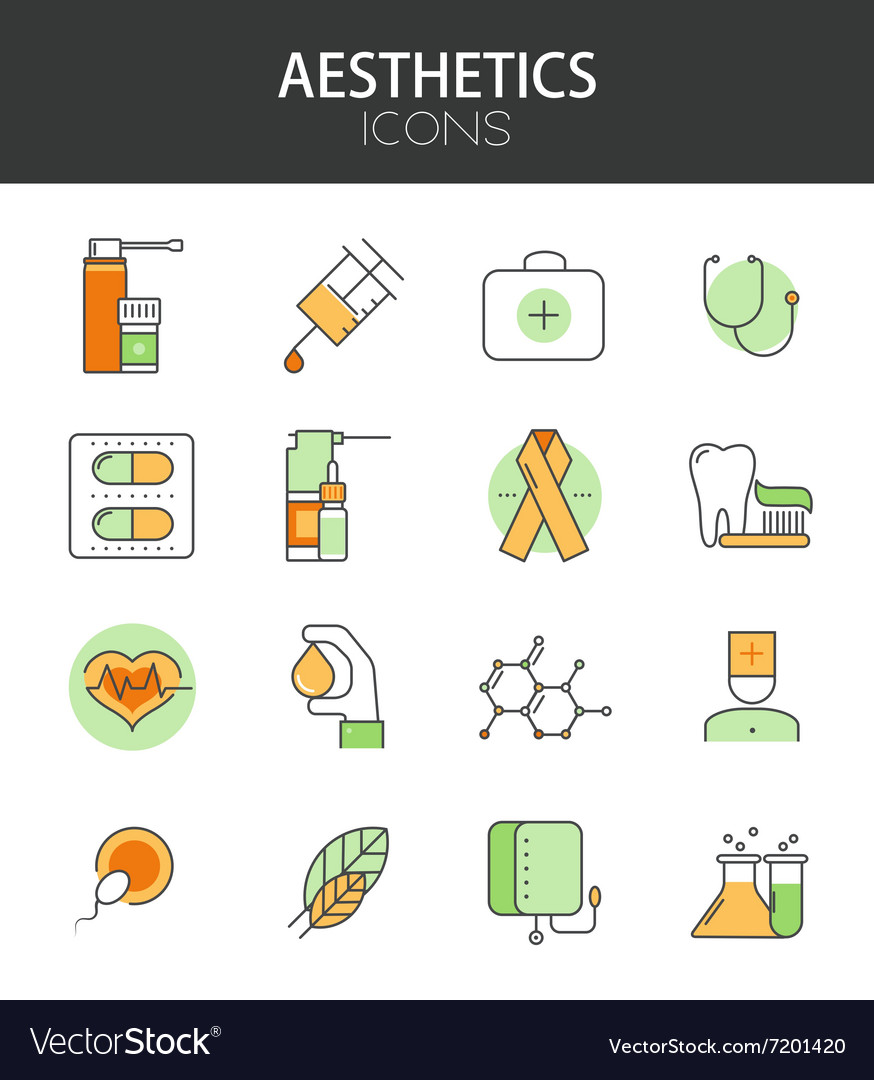 Modern thin line flat design of icons set