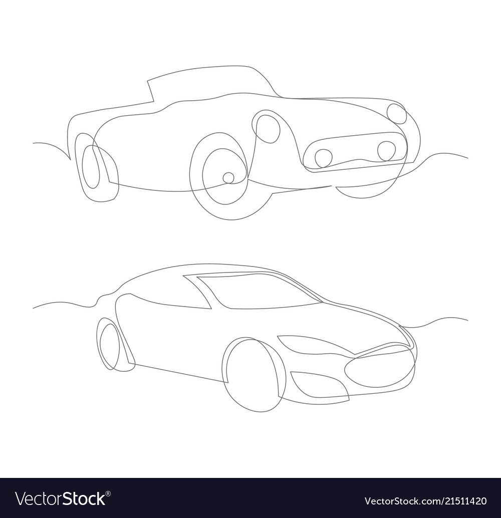 One line cars design silhouette