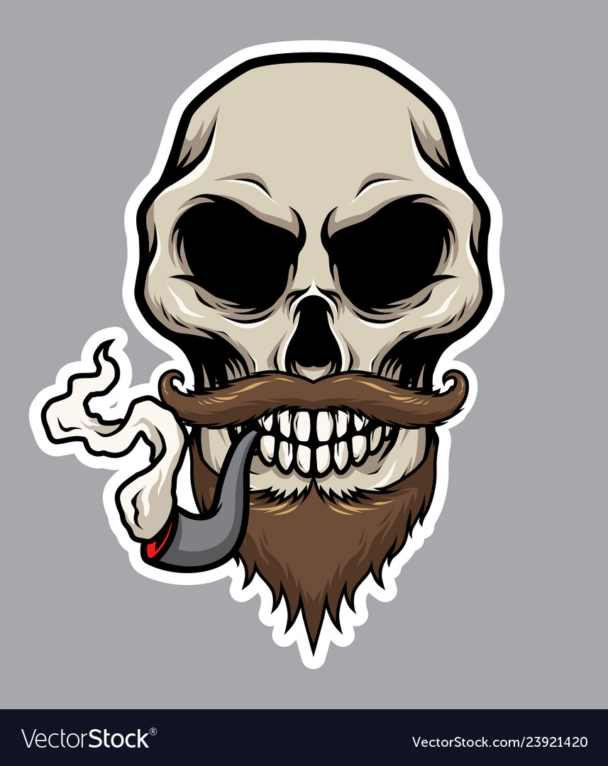Pirate skull with pipe mustache and beard