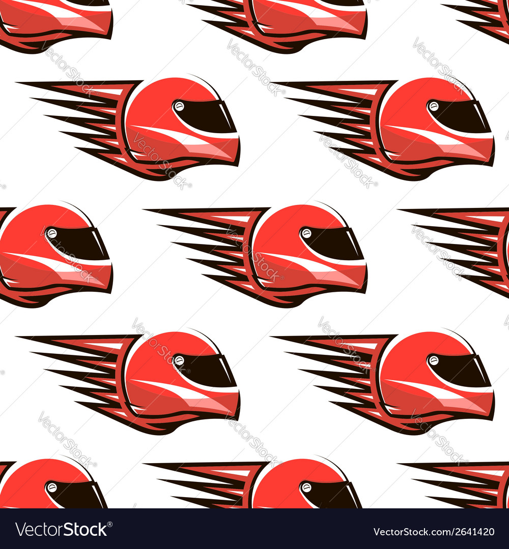 Seamless pattern of red racing helmet with speed