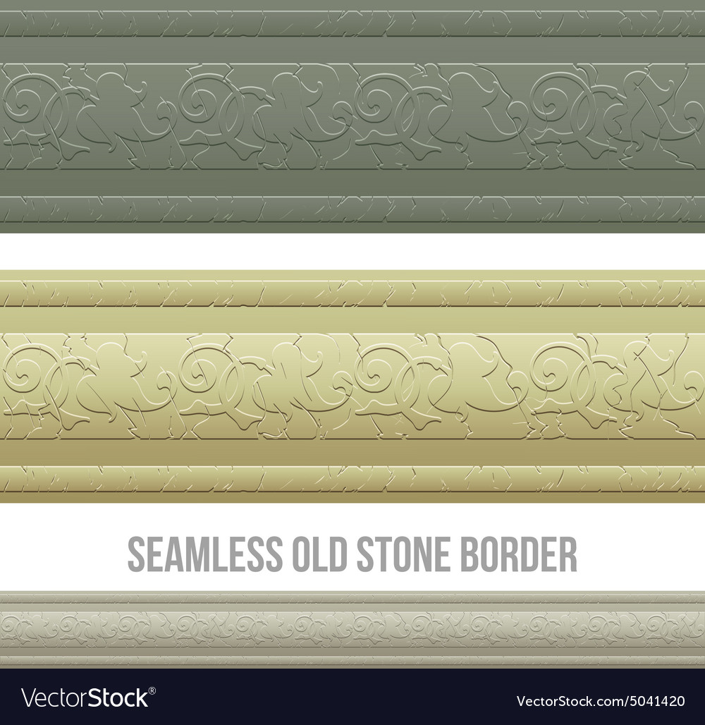 Set of seamless borders stone marble