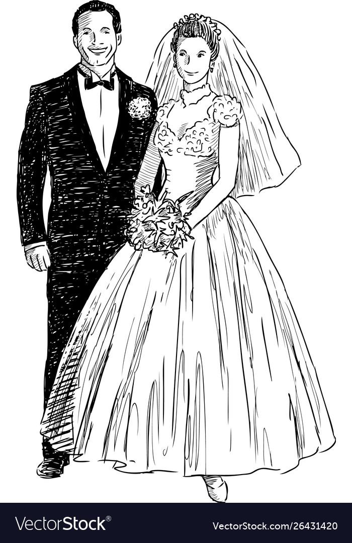 Sketch happy newlyweds