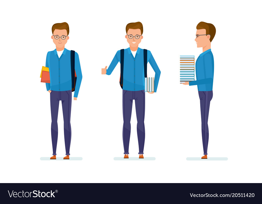 Student prepares for classes in library vector image
